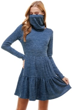 BeBop Juniors' Tiered Sweater Dress and Mask