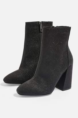 Topshop Womens Bling Glitter Boots - Black