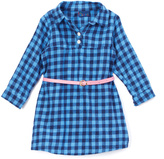Sweet & Soft Blue Plaid Belted Dress - Infant & Toddler
