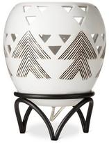 Mudhut Ceramic Embossed Graphic Table Lamp with Metal Leg - Cream/Brown (8x10.5