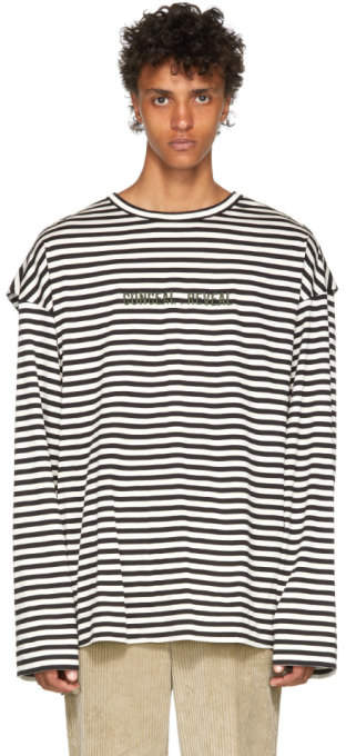 Juun.J Black and White Striped Long Sleeve T-Shirt