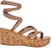 K Jacques St Tropez Tautavel leather and cork wedge sandals