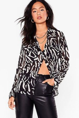 Nasty Gal Womens Herd Party Tonight Oversized Zebra Shirt - Black