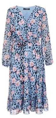 Dorothy Perkins Womens Quiz Blue Floral And Animal Print Wrap Midi Dress, Blue