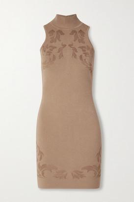 Cushnie Cutout Floral Jacquard-knit Mini Dress - Sand