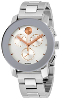 Movado Bold Chronograph Silver Sunray Dial Unisex Watch, 38mm