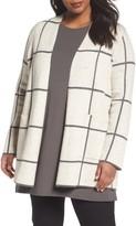 Eileen Fisher Plus Size Women's Long Check Knit Jacket