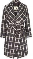 Yumi Checked Waterfall Wrap Coat