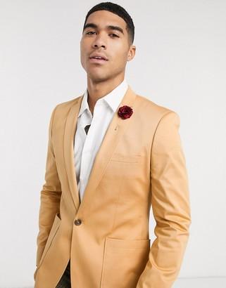 ASOS DESIGN wedding super skinny cotton blazer in camel