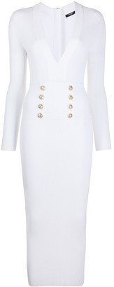 Balmain V-neck knitted midi dress