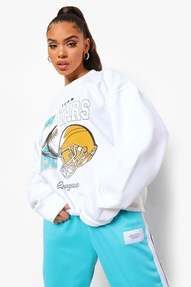 boohoo Spliced Varsity Print Oversized Sweatshirt