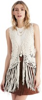 Sole Society Crochet Vest With Fringe