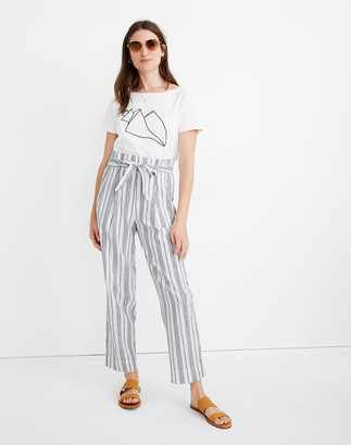 Madewell Linen-Cotton Paperbag Pants in Dark Baltic Stripe