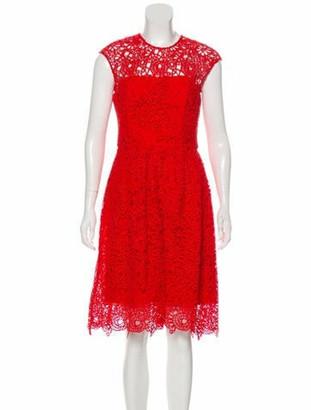 Lela Rose Crochet Knee-Length Dress Red