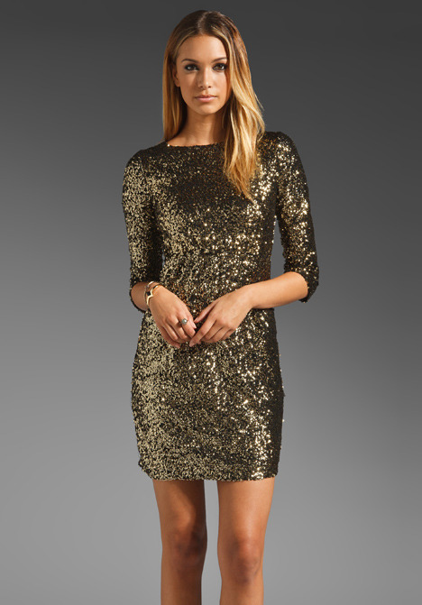 MM Couture by Miss Me 3/4 Sleeve Allover Sequin Dress