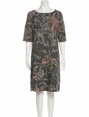 Dries Van Noten Floral Print Knee-Length Dress Grey