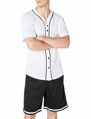 Urban Classics Men's Baseball Jersey Casual Sports Short Sleeves T-Shirt with Buttons and Stripes V-Neck Standard Fit