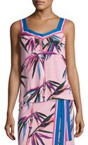Emilio Pucci Printed Sleeveless V-Neck Top, Pink/Multi