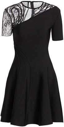Oscar de la Renta Asymmetric Mesh Embroidered A-Line Dress