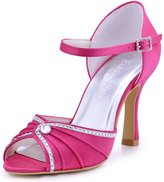 ElegantPark EL-033 Women Satin Peep Toe High Heel Sandals Rhinestones Ruched Buckle Evening Party Shoes US 6