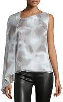 Halston Draped-Sleeve Asymmetric-Neck Top, Mist/White