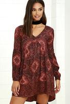 Billabong Clearest Melody Rust Red Print Babydoll Dress