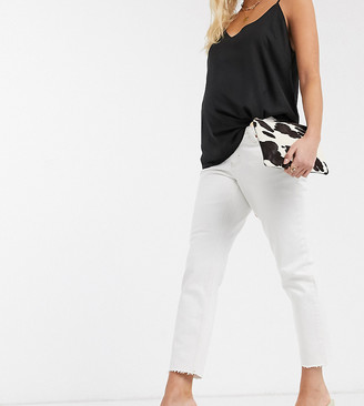 Topshop Maternity straight overbump jeans in white