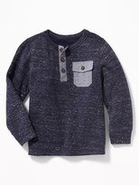 Old Navy French-Rib Chambray-Trim Henley for Toddler Boys