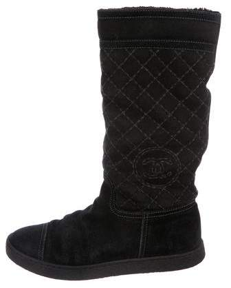 Chanel Suede CC Mid-Calf Boots