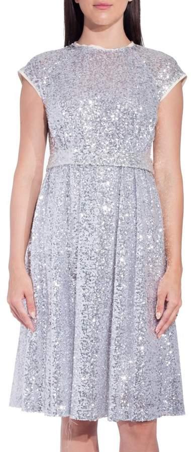 Dice Kayek Silver Sequin Short Sleeve Dress