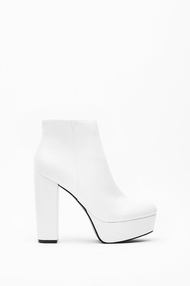 Nasty Gal Womens Stay High Faux Leather Platform Boots - white - 3