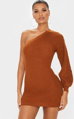 PrettyLittleThing Brown Knitted One Shoulder Bodycon Dress