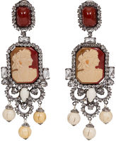 One Kings Lane Vintage Vrba Cameo Rhinestone Drop Earrings