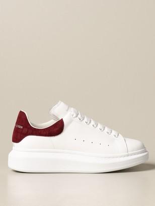 Alexander McQueen Sneakers In Leather With Crocodile Heel
