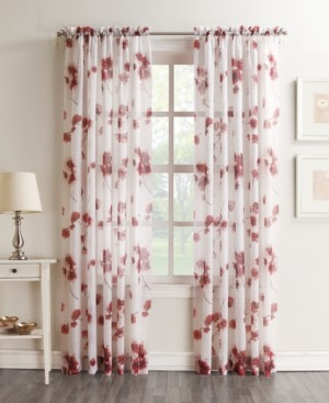 "No. 918 Bimini Textured Floral 51"" x 63"" Sheer Curtain Panel"