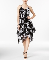 INC International Concepts Petite Floral-Print Handkerchief-Hem Dress, Created for Macy's