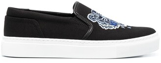 Kenzo Tiger-Motif Slip-On Sneakers
