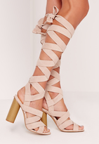 Missguided Strappy Wrap Around Block Heel Sandal Nude