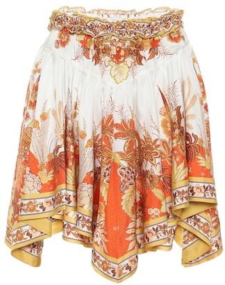 Zimmermann Brightside printed silk-twill miniskirt