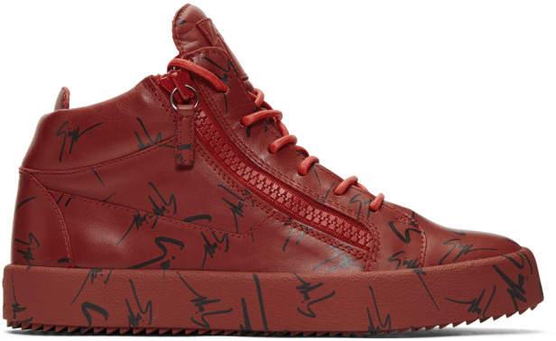 Giuseppe Zanotti Red May London High-Top Sneakers