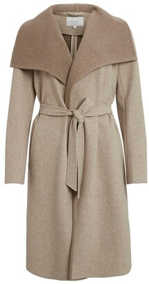 Vila Long Shawl-Collar Coat with Tie Belt