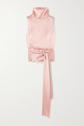 Galvan Luna Tie-front Satin Turtleneck Top - Pink