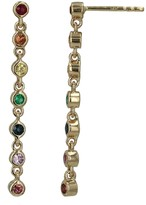 Ron Hami Yellow Gold and Multi Color Gemstone Bezel Linear Drop Earrings