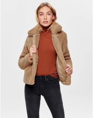 Only Teddy Faux Fur Jacket with Buttons and Pockets