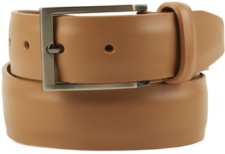 Tie Bar Solid Leather Tan Belt