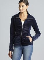 Calvin Klein Ruched Front & Back Zip Up Quick Dry Velour Jacket