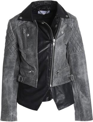 Muu Baa Muubaa Cracked And Smooth-leather Biker Jacket