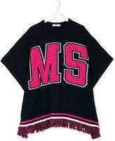 MSGM logo knitted poncho - kids - Acrylic/Rayon/Wool/Alpaca - 14 yrs