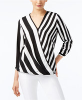 Alfani Striped Surplice Top, Only at Macy's