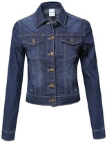 Made by Emma Long Sleeve Cropped Stretchy Denim Jacket Dark S